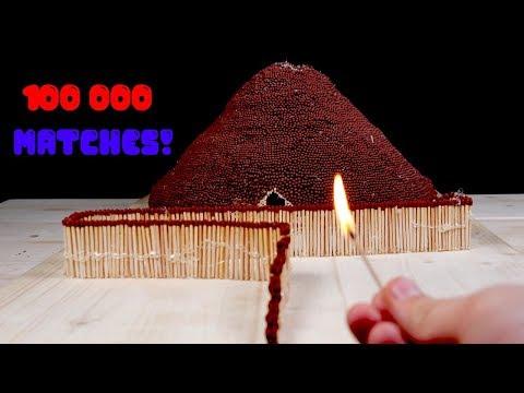 Извержение вулкана из спичек